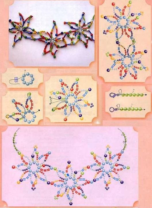 Цветочные фантазии из бисера.  Схема плетения цветов.  Материал - бисер.