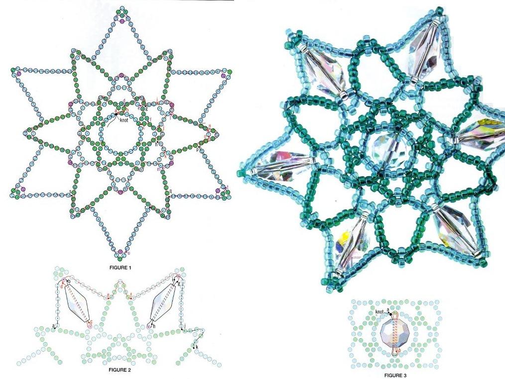 кристальные снежинки из бисера. схема плетения снежинок из бисера и кристаллов.