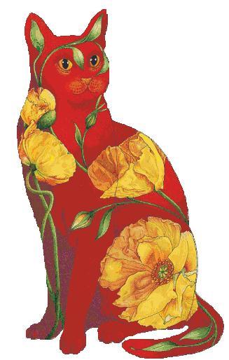 крестиком - Кот в цветах