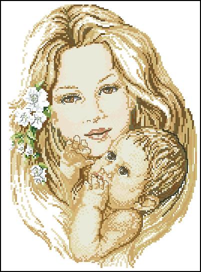 Вышивка крестиком - Мама и