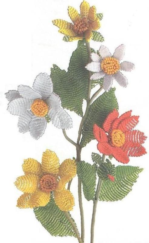 Цветок георгин из бисера параллельное плетение.  Схемы, описание, мастер-класс.