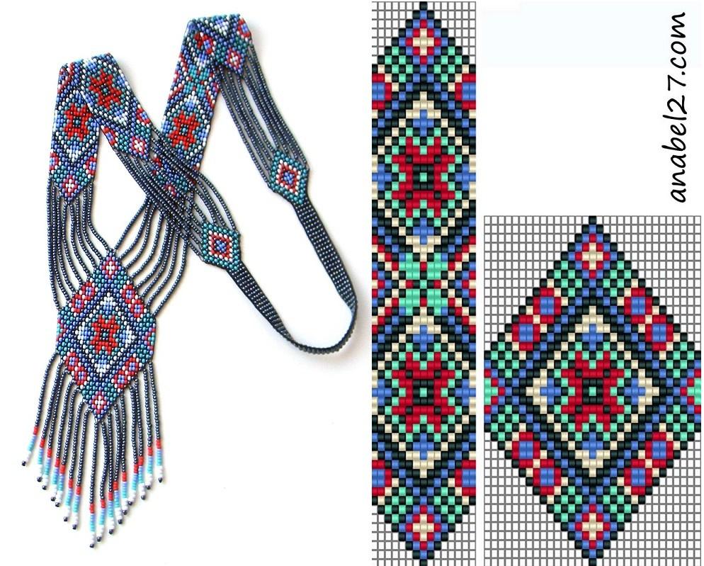 Шесть схем для ткачества бисером.