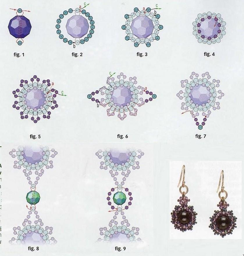 Схема плетения. граненые стеклянные бусины 10 мм в диаметре - граненые бусины 12 мм в диаметре - бисер 10 - бисер 12...