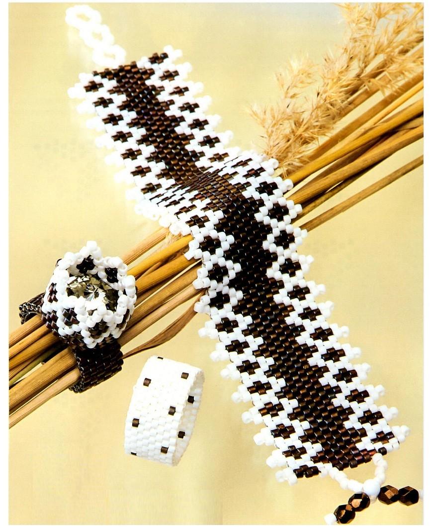 """Прокомментировать запись  """"Браслеты мозаичным плетенем """".  Браслеты из черного и белого бисера.  Черно-белые браслетики."""