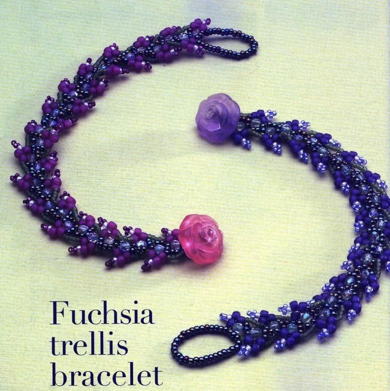 """Красивые  """"лохматые """" браслеты из бисера.  Первый сплетен из синего бисера и украшен застежкой розочкой..."""
