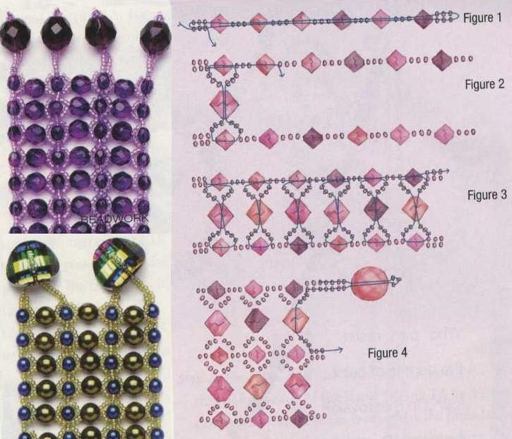 плетение широкого браслета из бисера. схема плетения браслета из.