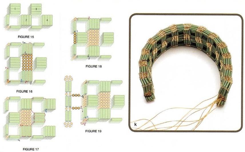 Браслет из стекляруса сплетен с помощью необычной техники плетения.  Чередуйте стеклярус и бисер между собой фрагмент...