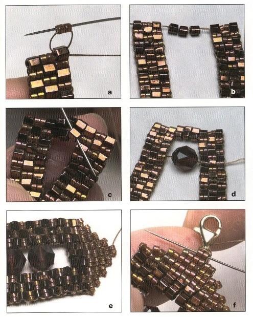 Браслет сплетенный из желтых кристаллов и бисера.  Простая техника плетения.  Схема изготовления изделия.