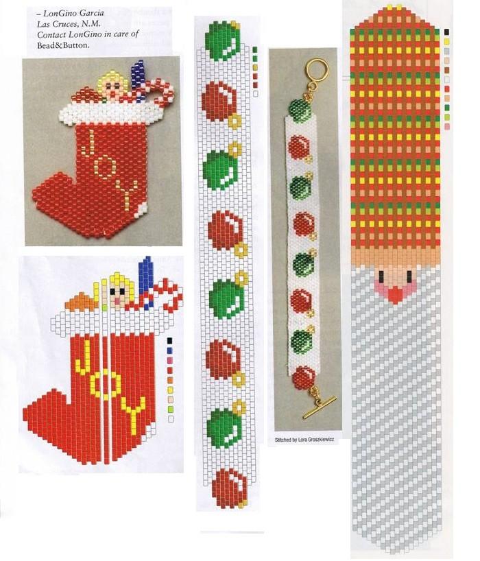 Красивые браслеты с елочными шариками и Дедом Морозом, носок с подарками...