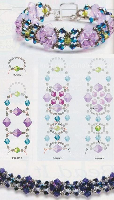 На примерах показаны несколько окрасок и сочетаний цветов браслетов.  Подробные схемы плетения украшений из бисера.
