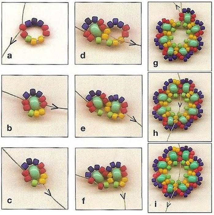Благодаря тому, что используется разноцветный бисер, вам будет легче разобраться в процессе плетения.