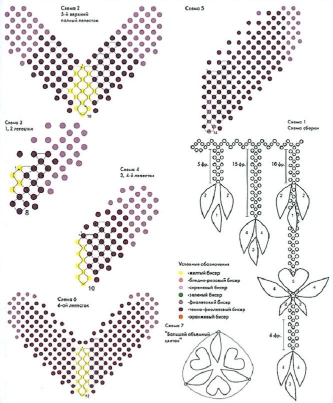 Ажурные колье из бисера схемы плетения бисермагия бисера.