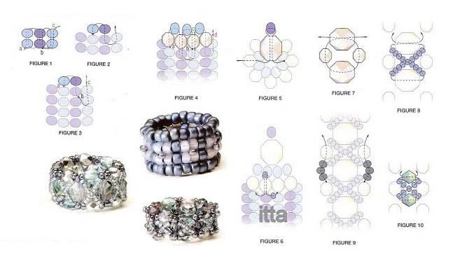 Схема плетения колье из бисера.