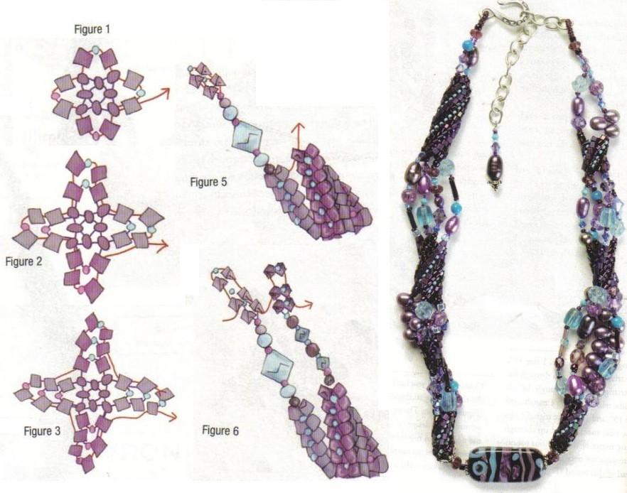 схема плетения украшения в свободной технике. схема фантазийного украшения из бисера.