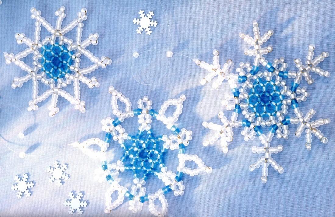 Схема плетения снежинки из