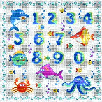 Вышивка крестиком - Океанический алфавит.
