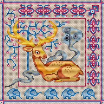 Категория: Разное Просмотров: 1219 Дата.  Вышивка крестиком - Олень со змеей.  07.12.2011.